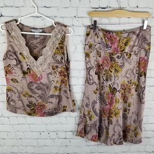 MAC&JAC   100% silk floral skirt & blouse set